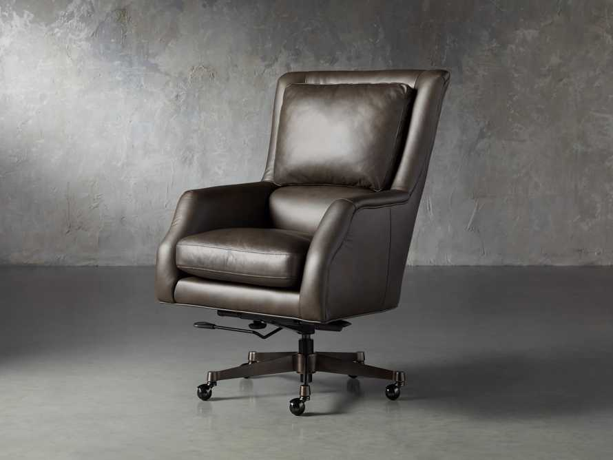 "Alex Leather 33"" Desk Chair in Brown, slide 5 of 9"