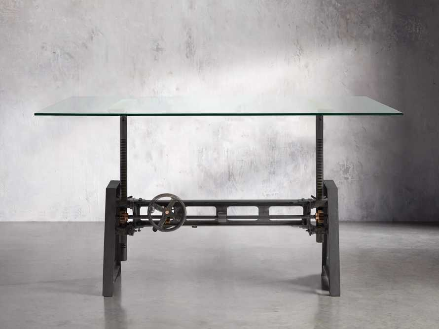 """Industrial Crank Desk with Rubbed Black and Small Copper Base and 68"""" Glass Top, slide 1 of 2"""