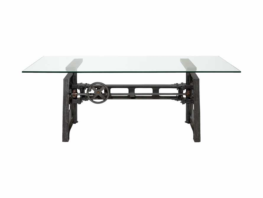 """Industrial Crank Desk with Rubbed Black and Small Copper Base and 68"""" Glass Top, slide 2 of 2"""