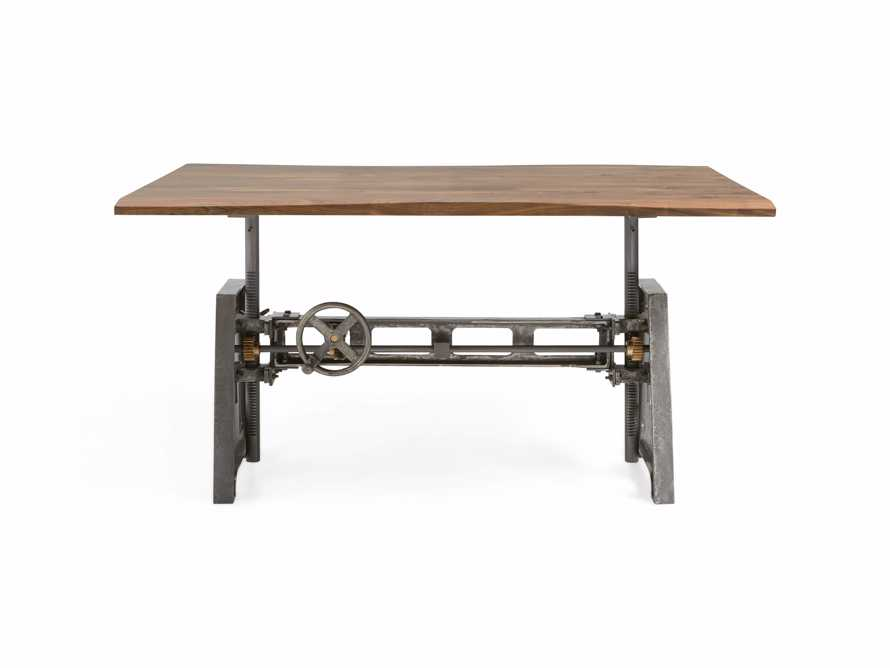 """Industrial 60"""" x 42"""" Brown Ansel Top with Small Crank Base"""