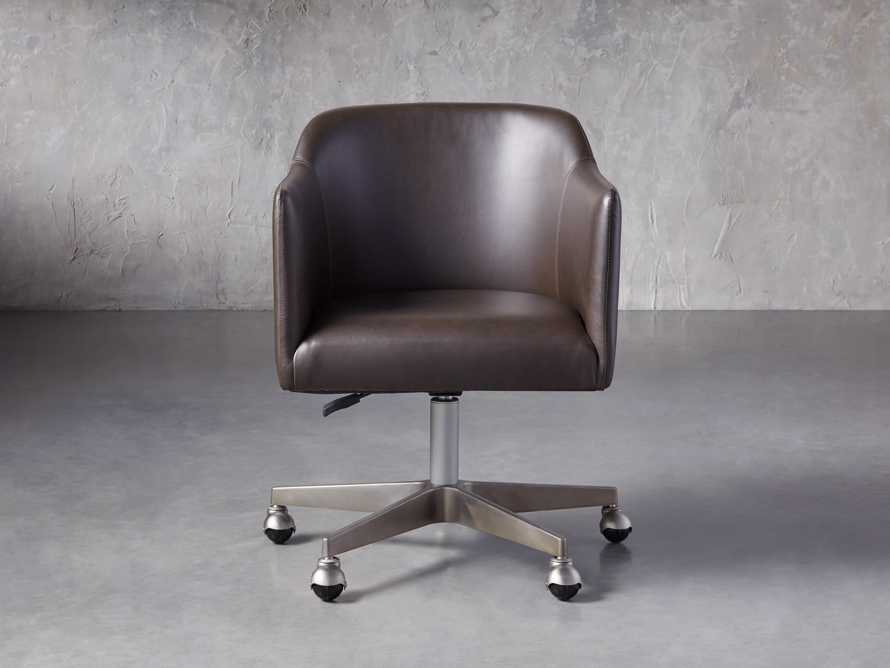 "Lain 22"" Faux Leather Desk Chair in Grey, slide 1 of 6"