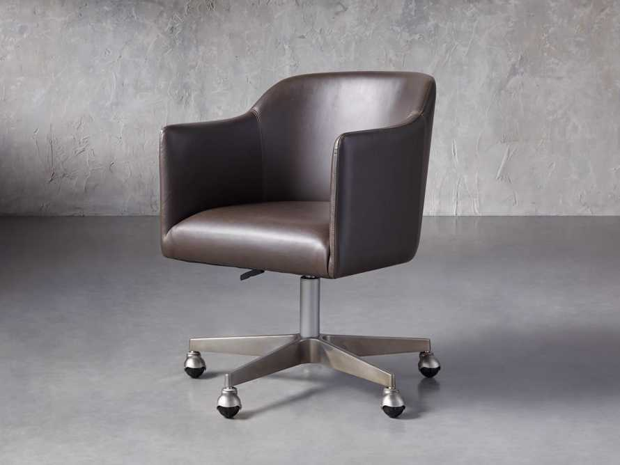 "Lain 22"" Faux Leather Desk Chair in Grey, slide 2 of 6"