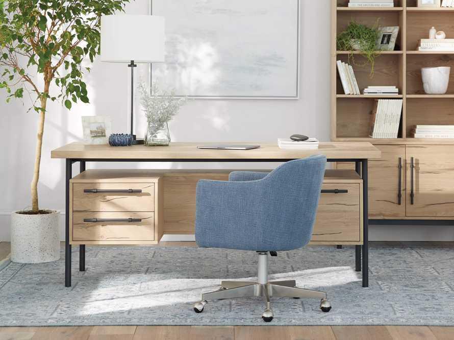 """Lain 22"""" Desk Chair in Indigo Linen, slide 9 of 11"""