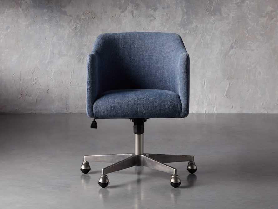 """Lain 22"""" Desk Chair in Indigo Linen, slide 1 of 10"""