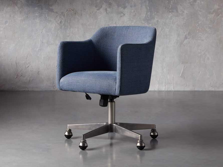 """Lain 22"""" Desk Chair in Indigo Linen, slide 2 of 10"""