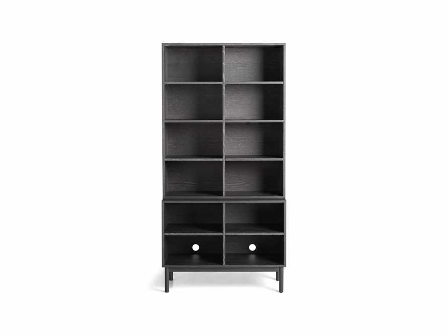 "Sullivan 38"" Single Bookcase with Open Cabinet Base in Grey"