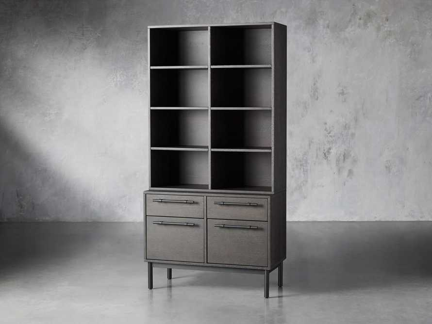 "Sullivan 38"" Single Bookcase with File Base in Grey, slide 2 of 8"