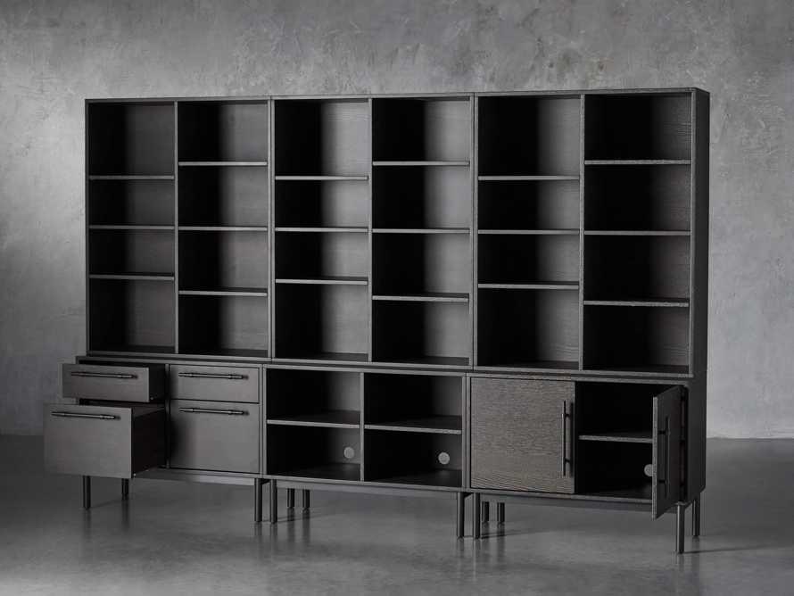 "Sullivan 113"" Modular Triple Bookcase File in Grey"
