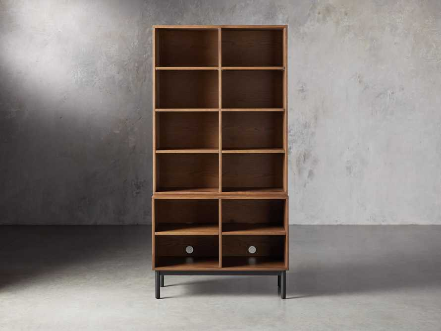 "Sullivan 38"" Single Bookcase with Open Cabinet Base"