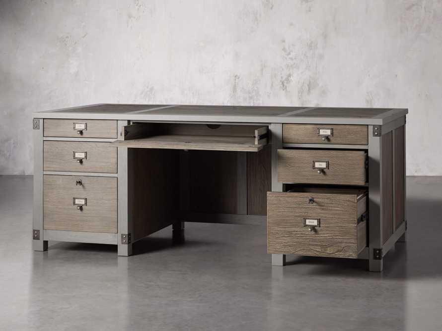 "Telegraph 78"" Executive Desk in Grey, slide 3 of 12"