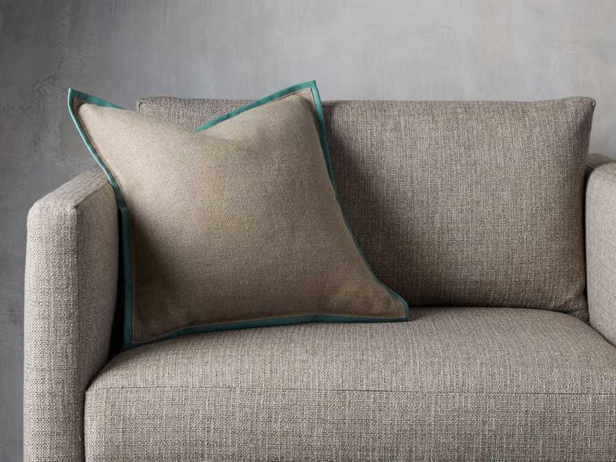 Linen Faux Leather Trim Pillow in Aqua, slide 5 of 5