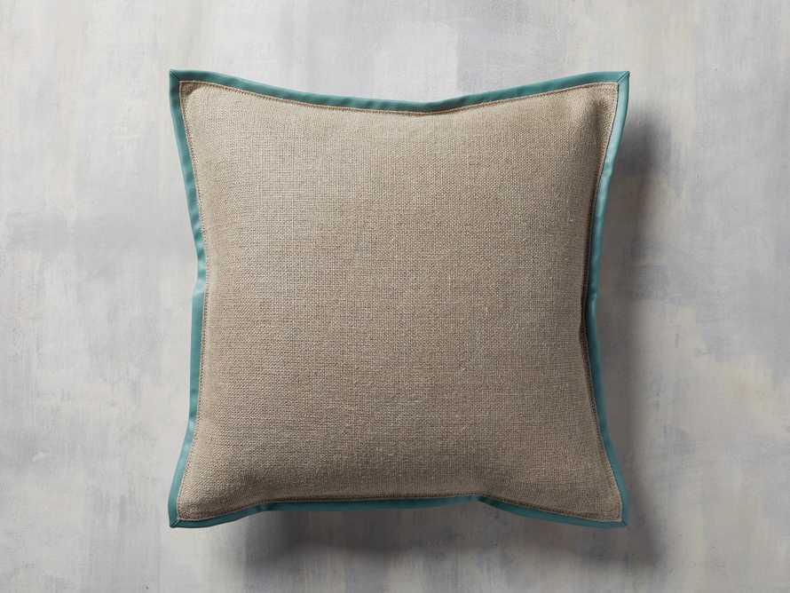 Linen Faux Leather Trim Pillow in Aqua, slide 1 of 5