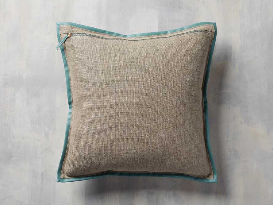 Linen Faux Leather Trim Pillow in Aqua, slide 2 of 5