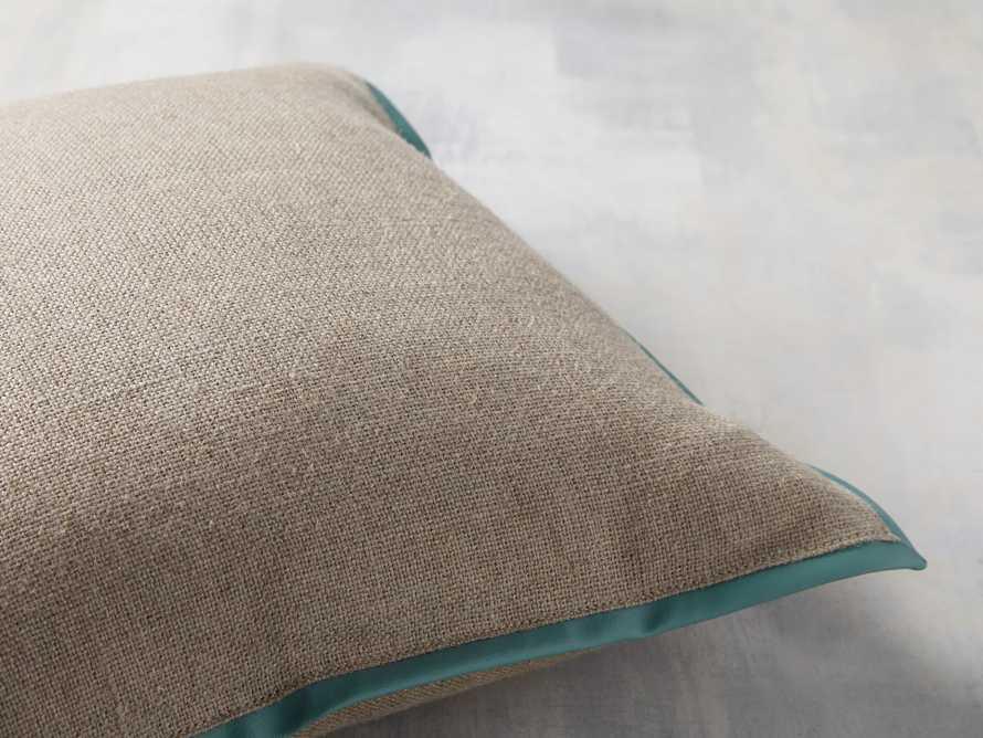 Linen Faux Leather Trim Pillow in Aqua, slide 3 of 5