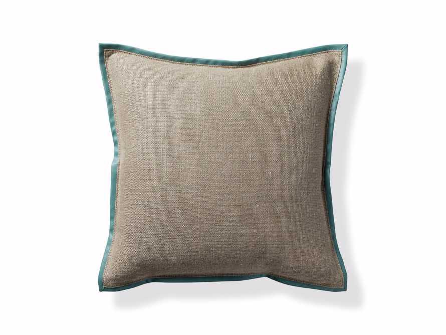 Linen Faux Leather Trim Pillow in Aqua, slide 4 of 5