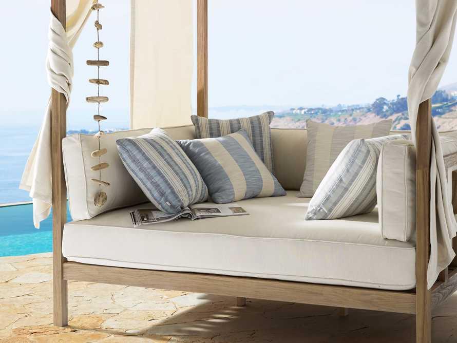 Awning Stripe Indoor/Outdoor Pillow in Ocean, slide 5 of 5
