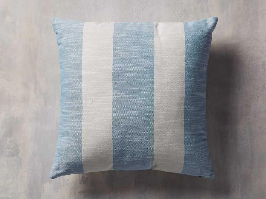 Awning Stripe Indoor/Outdoor Pillow in Ocean, slide 1 of 5