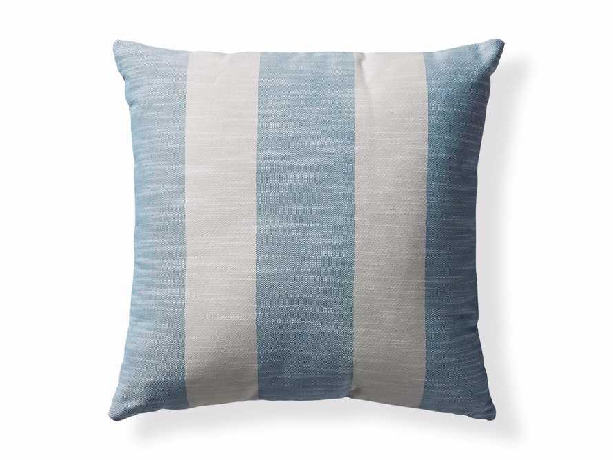 Awning Stripe Indoor/Outdoor Pillow in Ocean, slide 4 of 5