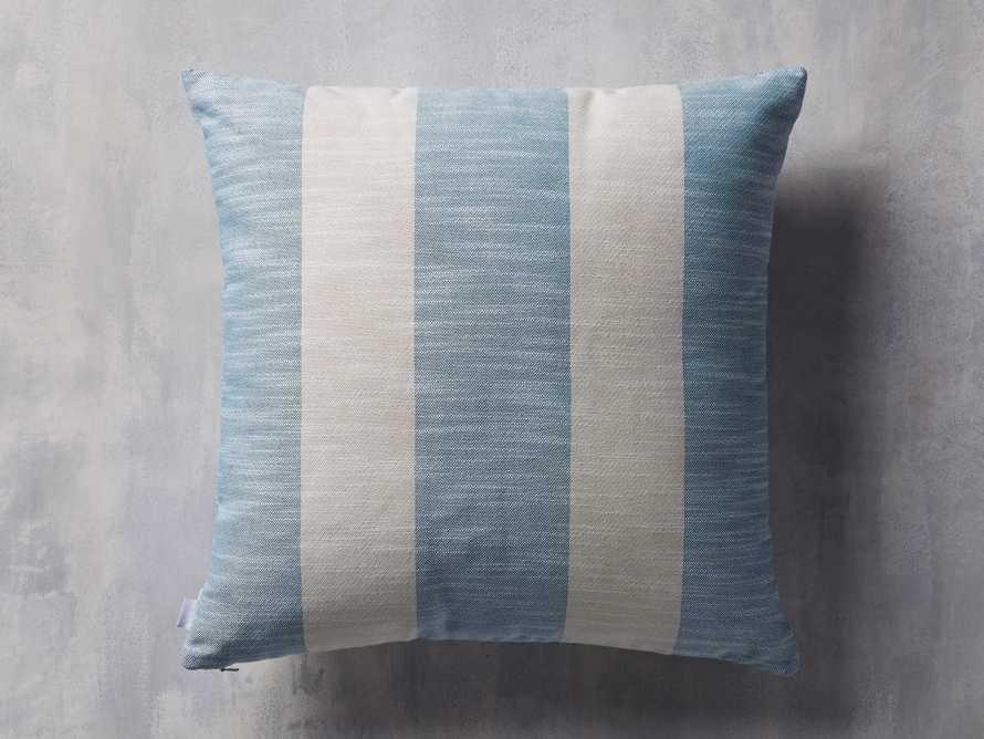 Awning Stripe Indoor/Outdoor Pillow in Ocean, slide 2 of 5
