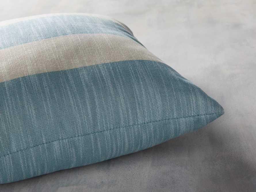 Awning Stripe Indoor/Outdoor Pillow in Ocean, slide 3 of 5