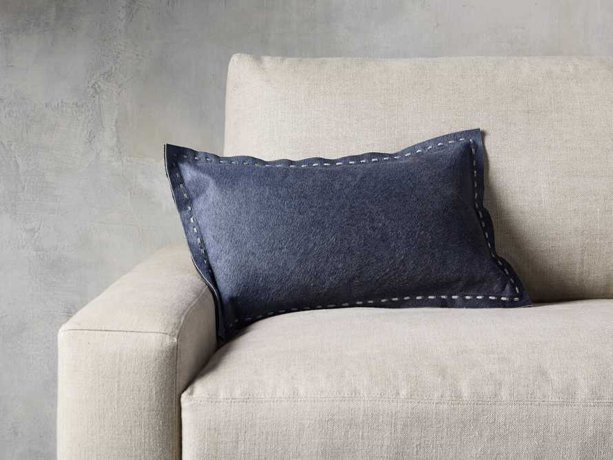 Hide Stitch Lumbar Pillow in Blue, slide 1 of 4