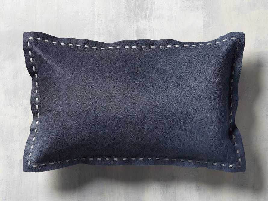 Hide Stitch Lumbar Pillow in Blue, slide 3 of 4