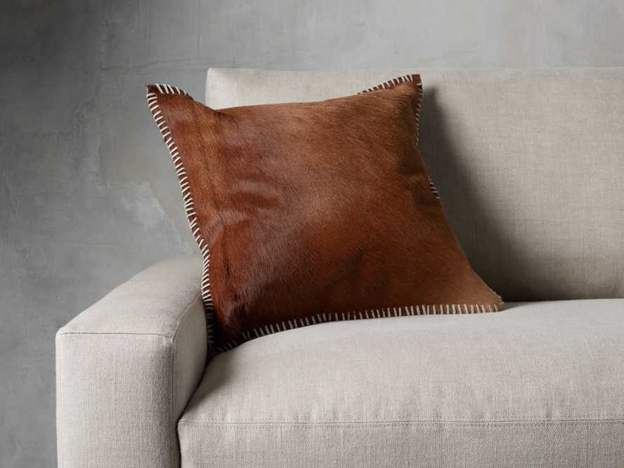 WHIPSTITCH HIDE SQUARE PILLOW COVER IN BROWN, slide 4 of 6