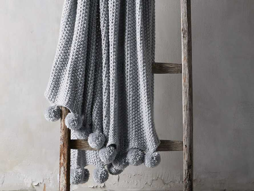 """Chunky Knit 50"""" Throw with Pom Poms, slide 1 of 4"""