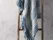Chunky Knit Blue and White Throw