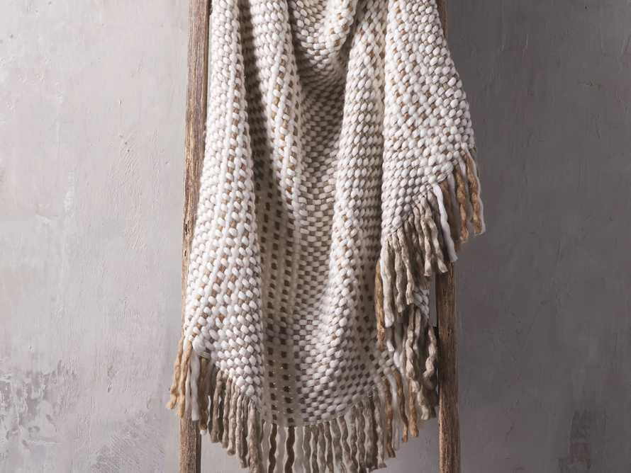 Chunky Knit Grey and Ivory Throw, slide 1 of 4