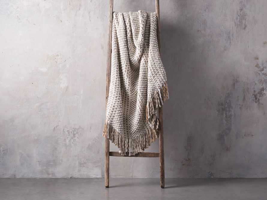 Chunky Knit Grey and Ivory Throw, slide 2 of 3