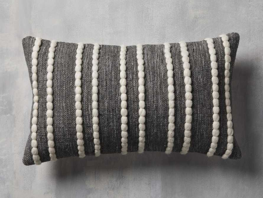 CHUNKY STRIPE LUMBAR PILLOW COVER IN CHARCOAL, slide 1 of 4