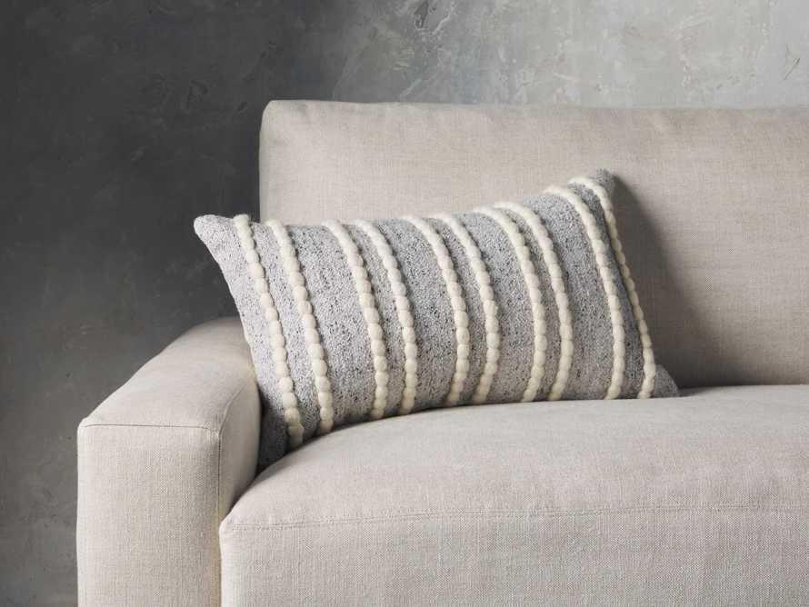 "Chunky Stripe 24"" Lumbar Pillow in Light Grey, slide 1 of 4"