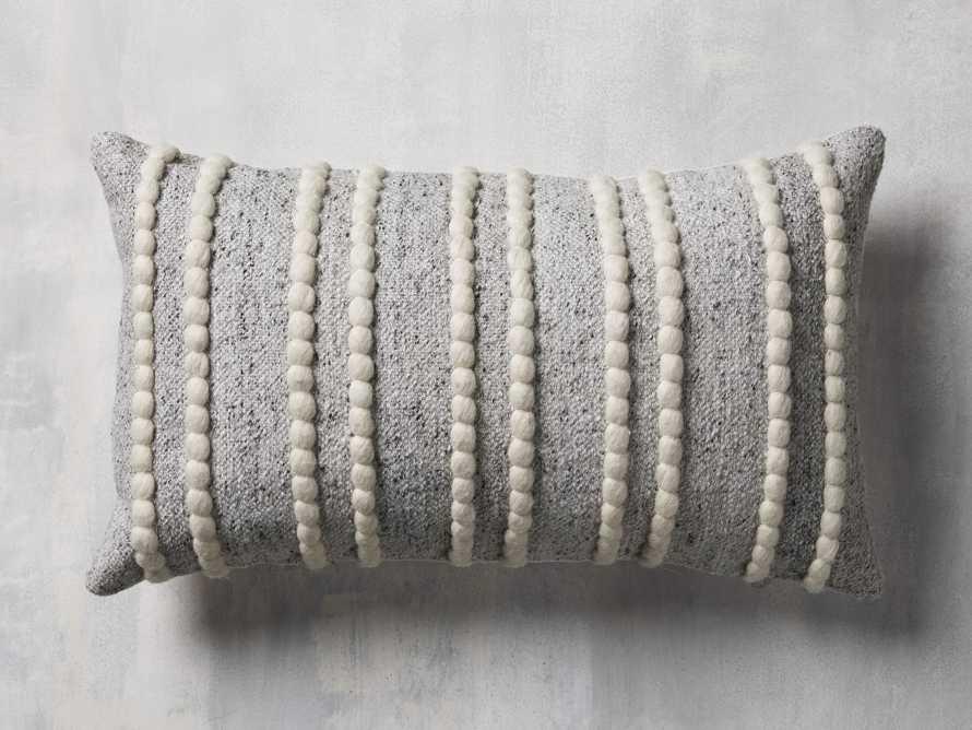 "Chunky Stripe 24"" Lumbar Pillow in Light Grey, slide 2 of 4"