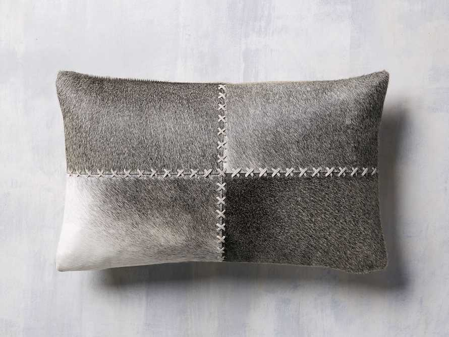 Whipstitch Hide Lumbar Pillow in Grey, slide 2 of 5