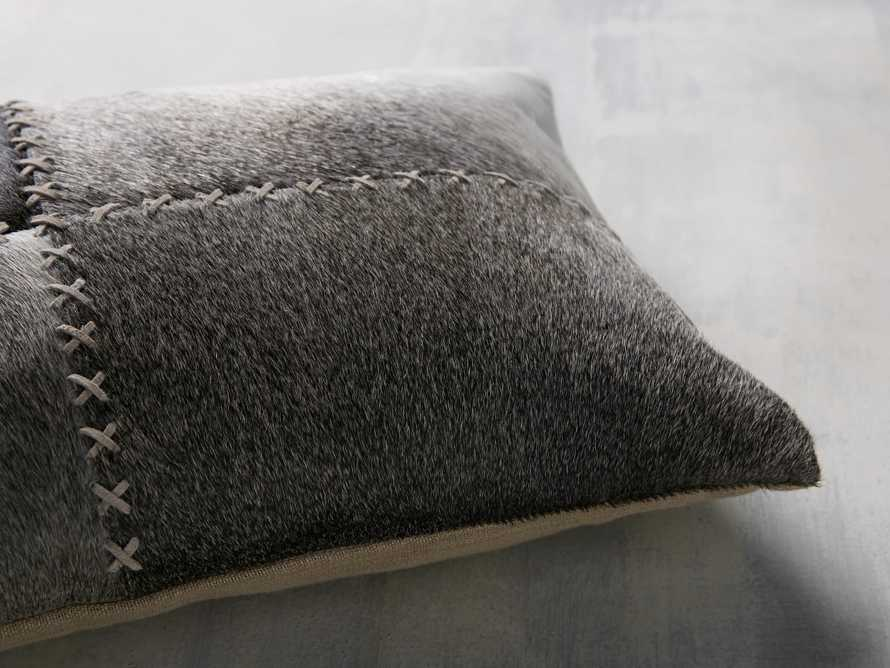 Whipstitch Hide Lumbar Pillow in Grey, slide 4 of 5
