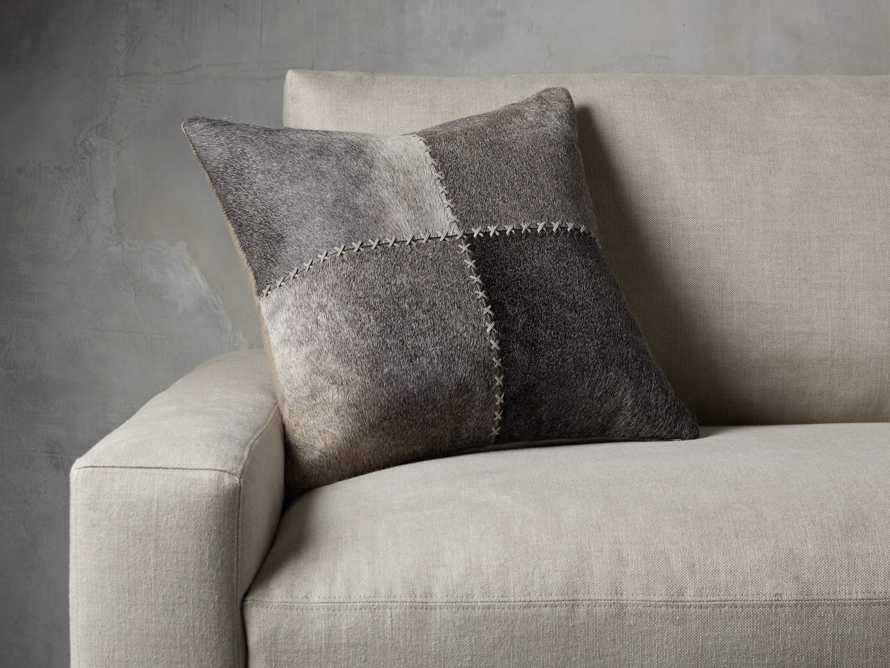 Whipstitch Hide Pillow in Grey, slide 1 of 4