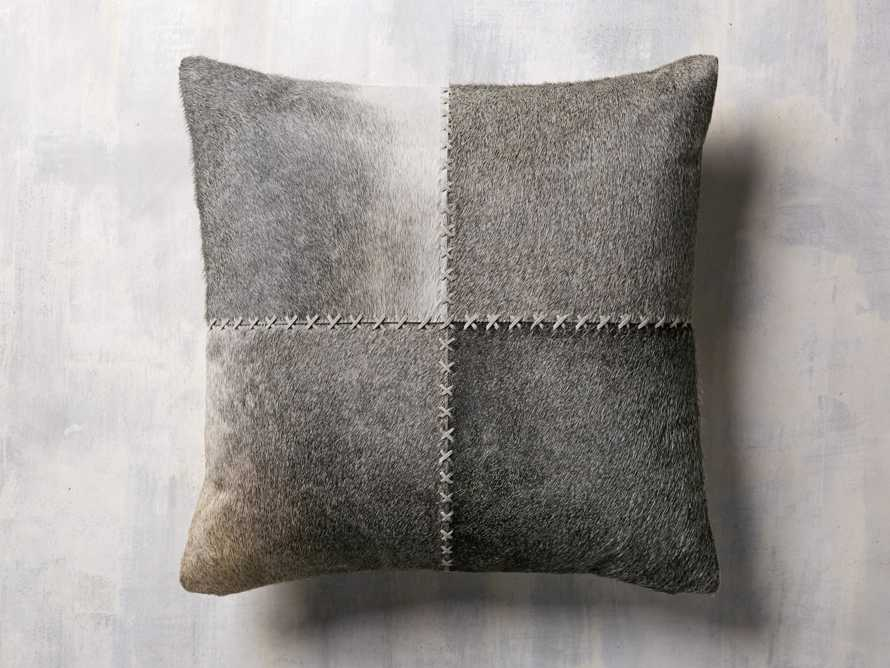 Whipstitch Hide Pillow in Grey, slide 2 of 4