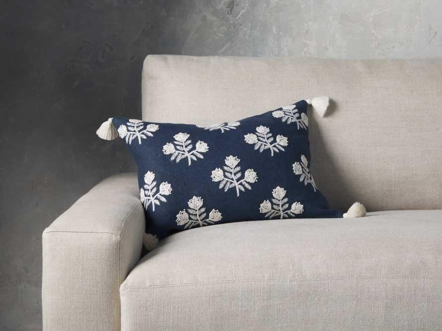 Estee Embroidered Pillow in Navy, slide 1 of 4