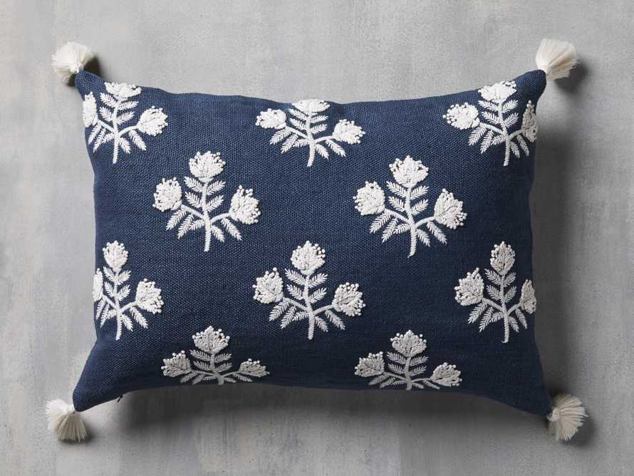 Estee Embroidered Pillow in Navy, slide 2 of 4