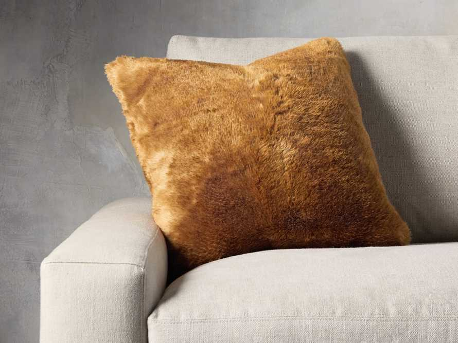 FAUX FUR RABBIT SQUARE PILLOW COVER IN AMBER, slide 3 of 3