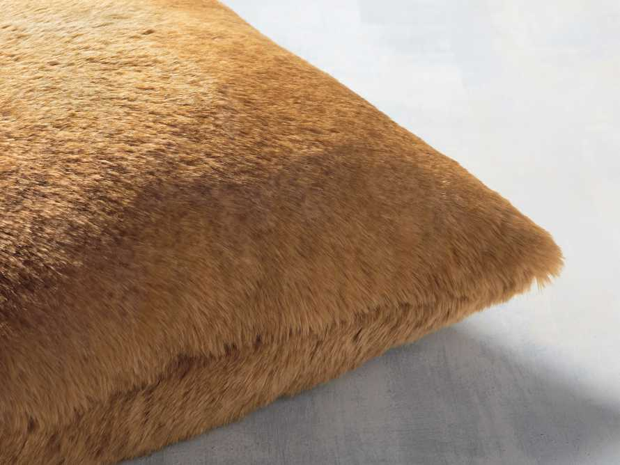 FAUX FUR RABBIT SQUARE PILLOW COVER IN AMBER, slide 2 of 3
