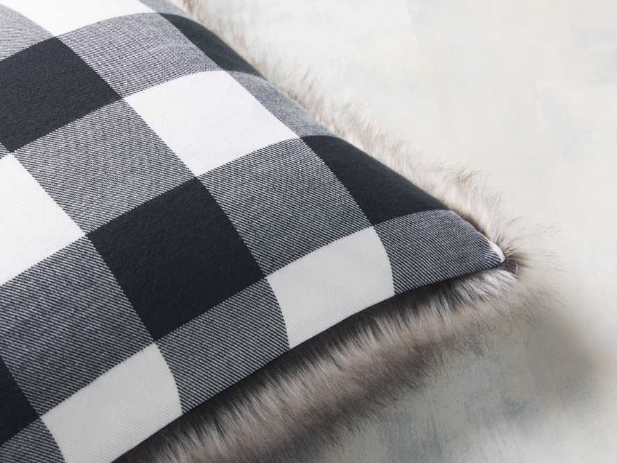 Faux Fur Reversible Buffalo Check Pillow, slide 2 of 4