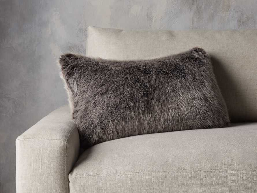 Luxe Faux Fur Lumbar Pillow Cover in Brown, slide 3 of 4