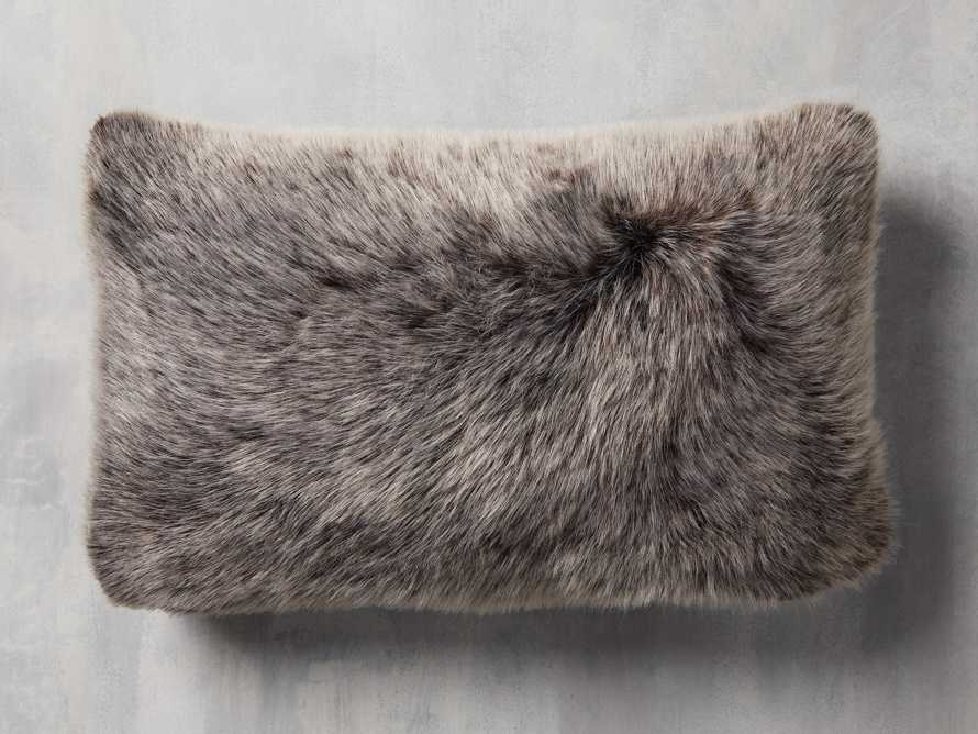 Luxe Faux Fur Lumbar Pillow Cover in Brown, slide 1 of 4