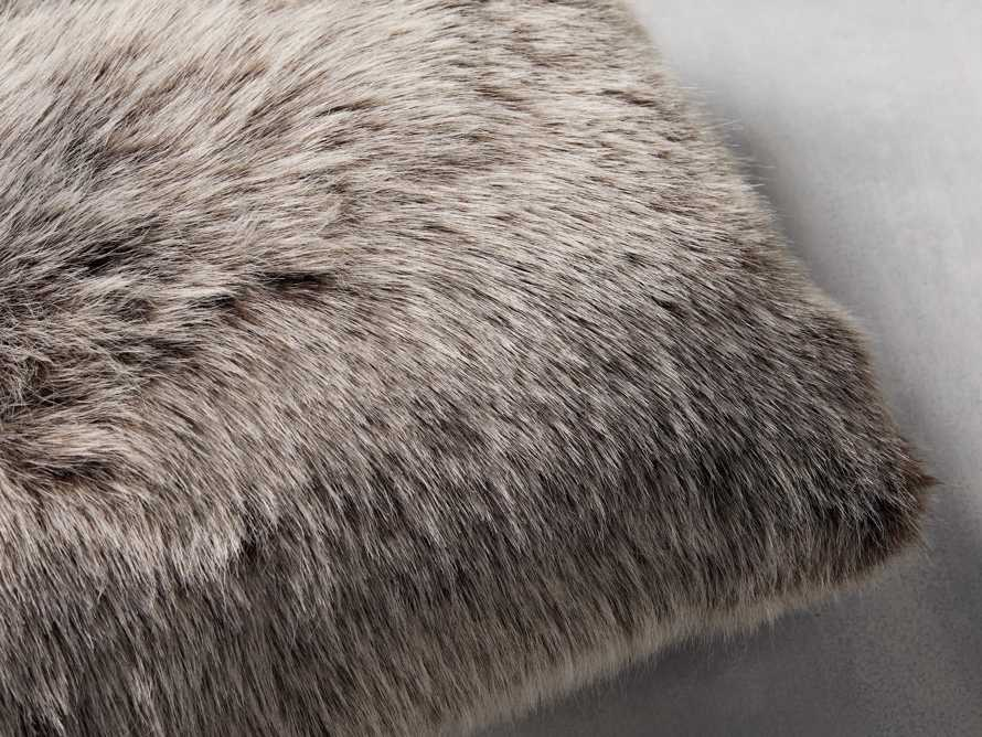 Luxe Faux Fur Lumbar Pillow Cover in Brown, slide 2 of 4