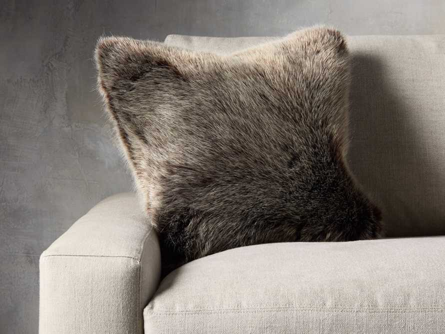 FAUX FUR LUXE SQUARE PILLOW COVER IN BROWN, slide 3 of 3