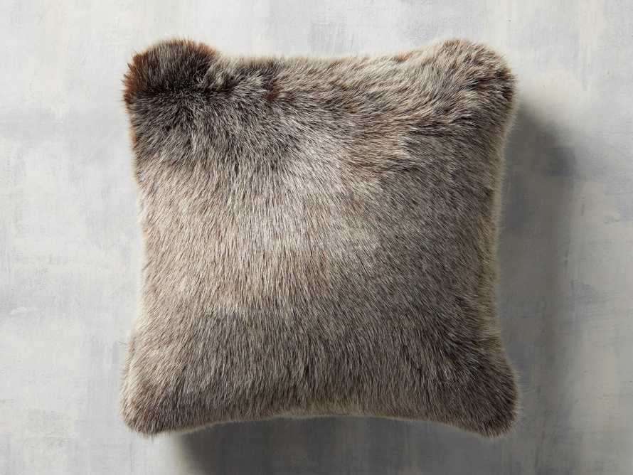 FAUX FUR LUXE SQUARE PILLOW COVER IN BROWN, slide 1 of 3