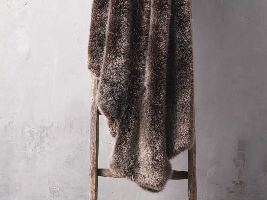 Luxe Faux Fur Brown Throw, slide 1 of 3