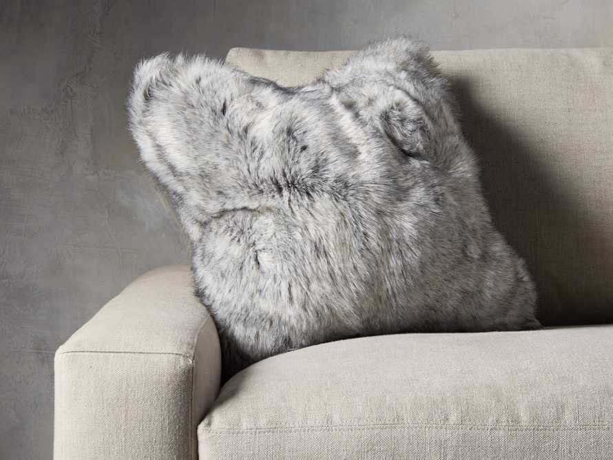 FAUX FUR LUXE SQUARE PILLOW COVER IN GREY, slide 3 of 3